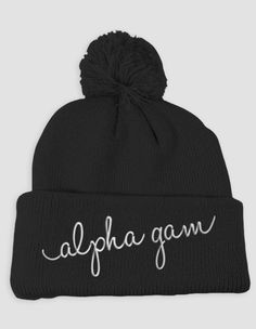 Alpha Gamma Delta - Alpha Gam Embroidered Beanie (Pom) by ABD BlockBuy! $31 until Nov 17