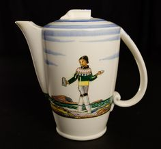 Salamina coffee pot designed by Rockwell Kent from his book documenting his exploration of Greenland. Made by Vernon Kilns, circa 1939.