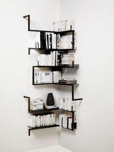 Corner Wall Shelves Design Ideas for Living Room 14 Corner Shelf Design, Diy Corner Shelf, Corner Wall Shelves, Bookshelf Design, Wall Shelves Design, Metal Shelves, Bookshelf Ideas, Book Shelves, Cozy Corner