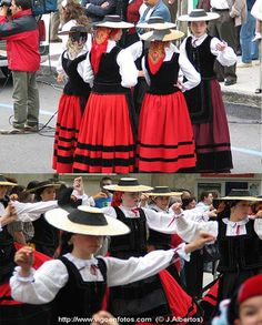 Popular dress of Galicia, northwestern Spain. Velveteen bodices and bands on wool skirts. Crochet-trimmed blouses, petticoats and pantaletes underneath.
