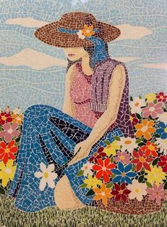 Such a pretty mosaic Mosaic Tile Art, Mirror Mosaic, Mosaic Art Projects, Mosaic Crafts, Free Mosaic Patterns, Christmas Mosaics, Mosaic Portrait, Mosaic Pictures, Mosaic Flowers