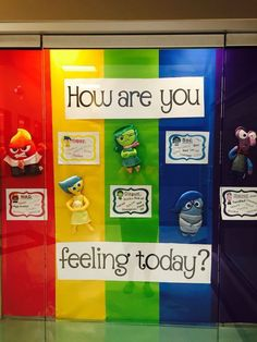 This Inside Out bulletin board is more on the student level and very easy for the children to understand as well as creative. I feel students will be extremely excited to see a bulletin up in the classroom with something they enjoy on it. Counseling Bulletin Boards, Counseling Office, Elementary School Counseling, School Social Work, Classroom Bulletin Boards, School Counselor, Elementary Schools, Disney Bulletin Boards, Nurse Bulletin Board
