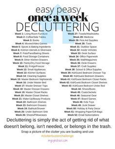 Easy Peasy, Once-A-Week Decluttering Challenge - 2017 Clutter Buster Challenge! Easy Peasy, Once-A-Week Decluttering Challenge 2017 Clutter Buster - Organize Life, Declutter Your Life, Declutter House, Declutter Bedroom, Bedroom Minimalist, Minimalist Decor, Minimalist Lifestyle, Minimalist Living, Minimalist Kitchen