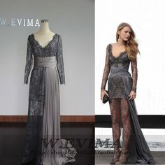 Wholesale Prom Dresses - Buy Hot Sale New Arrival Gray Lace Long Sleeves See Through Sexy Prom Dress Short with Satin Chiffon Floor Length Evening Dress Prom Dresses, $160.0   DHgate