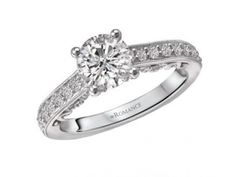 Ring $2,395.00 STYLE: 001-140-00225 18K WG 3/8 cttw SI1-G fits 6.5mm RD Matching band 117475-W http://www.theringbygoldgals.com/