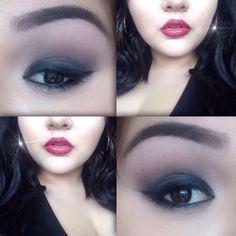Smokey eye red lipstick