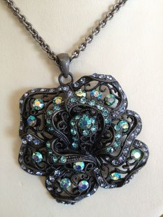 Gray and blue rhinestone flower necklace $12.99