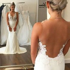 Sexy Sheath Wedding Dress - Jewel Sleeveless Illusion Back with Lace Top Sweep Train