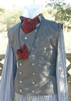 Steampunk Victorian Waistcoat Vest Wool Suiting LARP Cowboy