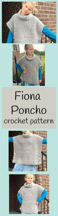 The Fiona Poncho has a cowl neck to keep you extra warm! This poncho crochet pattern is super easy and sized for baby girl through Women XL.