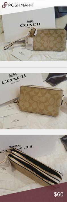 Coach double zip wrislet/wallet Brand new.  Double zip closure. Coach Bags Wallets