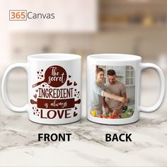 "Our ""The Secret Ingredient is Always Love"" photo mug has this lovely quote with a picture of you and your beloved. A customized mug is an excellent wedding anniversary, birthday, and Valentine's Day present. Is an occasion necessary, though? Absolutely not! You can give your partner our ""The Secret Ingredient is Always Love"" photo mug today just because you want to celebrate the love you share. #love #couple #anniversary #gifts #giftideas #photo #mug #365canvas"
