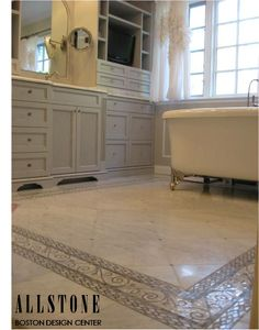 Installation of #allstone Dynasty White marble! It is very reasonably priced and can transform any space! Check out our website for more information  www.allstone.net