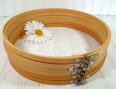 Wooden Round Embroidery Hoops Set of 6 - Vintage Sewing Essentials - Repurpose Craft Frames