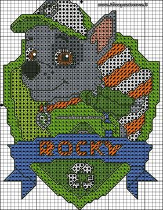 Paw patrol plastic canvas patterns toys figures clothes skye birthday gifts everest toy marshall zuma vehicles games ideas chase truck tracker new slippers rocky pajamas racers rubble ryder sale de… Cross Stitch For Kids, Cross Stitch Baby, Cross Stitch Animals, Cross Stitch Charts, Cross Stitch Designs, Cross Stitch Patterns, Paw Patrol Rocky, Cross Stitching, Cross Stitch Embroidery