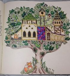 completed enchanted forest colouring book - Google Search