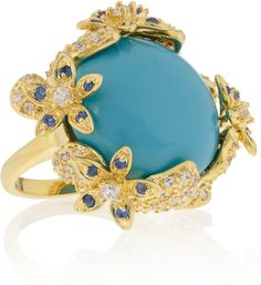 Kenneth Jay Lane Gold Gold Plated Crystal and Cabochon Ring