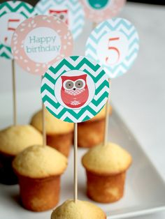 Owl cupcake toppers or tags by Lafabriqueabricole on Etsy. $6.50, via Etsy.