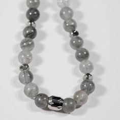 Natural Cloud Quartz Bead Necklace, Handmade Necklace, Short Necklace