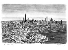 Aerial view of Chicago - drawings and paintings by Stephen Wiltshire MBE