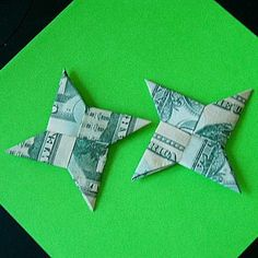 Dollar Bill Shuriken (Origami Ninja Star) **Now With Video - Paper Crafts 🧶 Ninja Star Origami, Origami Yoda, Origami Star Box, Origami Ball, Origami Dragon, Origami Stars, Origami Boxes, Origami Ideas, Origami Flowers