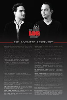 Big Bang Theory ~ Roommate Agreement Poster - The Clauses