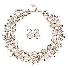 Holylove Women White Simulated Pearl Crystal Beads Choker Statement Necklace Earrings Jewelry Set-8058set >>> Click on the image for additional details.