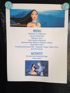 Pocahontas Menu - Pocahontas Movie Night - Disney Movie Night - Family Movie…