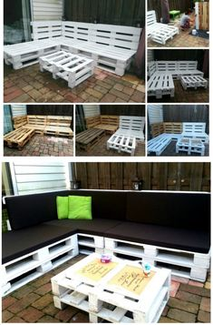 Crate and Pallet DIY Pallet furniture Pallet Bank, Pallet Lounge, Pallet Sofa, Pallet Crafts, Pallet Projects, Home Projects, Pallet Garden Furniture, Diy Furniture, Decoration Palette
