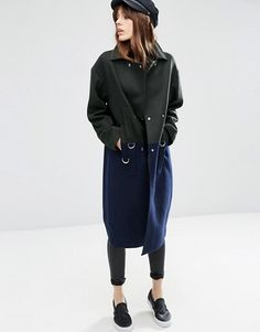 ASOS | ASOS - Oversized Coat Wool Mix Colour Block with D-Ring Details