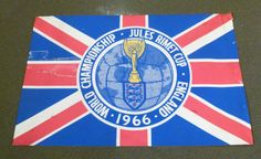 "1966 World Cup - Original England Supporters' ""Jules Rimet Cup"" Flag -"