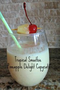 Tropical Smoothie copycat-tastes just like the Pineapple Delight smoothie.  Super easy!  Yummmm.