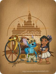 Disney steampunk: Lilo and Stitch by MecaniqueFairy.deviantart.com on @DeviantArt