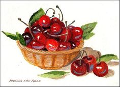 """""""A Basket of Ripe Cherries"""" - Original Fine Art for Sale - © Patricia Ann Rizzo  http://dailypaintworks.com/fineart/patricia-ann-rizzo/a-basket-of-ripe-cherries/156275"""