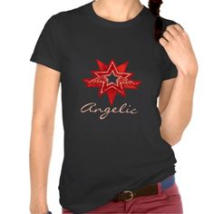 Angelic star ladies red hues on black t-shirt. Art and design by www.sarahtrett.com