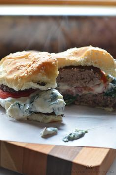 Creamed Spinach Burgers