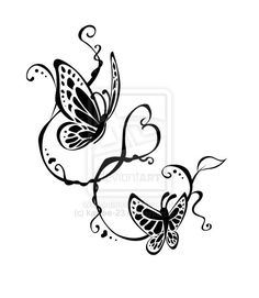 Tribal butterfly tattoo. love the vines but different butterflies and more realistic looking.