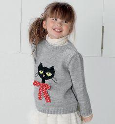 Modèle pull motif chat 51% laine - Modèles tricot enfant - Phildar