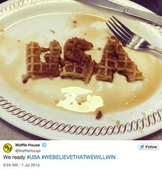 WIN: Waffle House Shows the World Cup Who's Boss Of Waffles - What Waffle House lacks in social media strategy it makes up for in exuberance. The waffle chain went all out for the World Cup, with some fun-loving patriotism and plenty of typos, gaining more than 1,500 new followers in the process.  | www.eklectic.in #eklectic