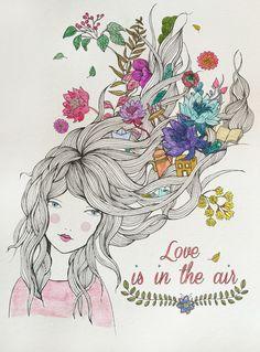 love is in the air ilustración Art And Illustration, Sketch Manga, Art Aquarelle, Beauty Art, Fractal Art, Artist Art, Female Art, Art Girl, Flower Art