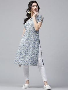 Buy Nayo Women Mustard Yellow Printed A Line Kurta - Kurtas for Women 6618478 New Dress Design Indian, Dress Indian Style, Indian Fashion Dresses, Pakistani Dress Design, Indian Designer Outfits, Sleeves Designs For Dresses, Dress Neck Designs, Stylish Dress Designs, Simple Kurta Designs