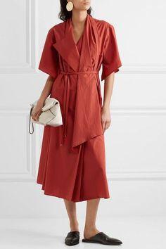 Lemaire - Cotton-poplin Wrap Dress - Brick - FR34