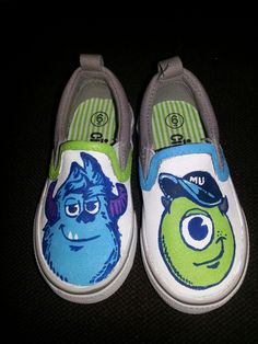Monsters INC canvas painted shoes...couldn't find them so I made them...