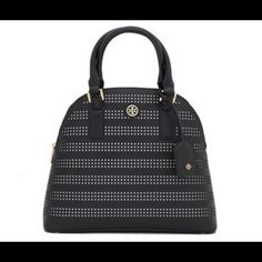 "Nwt Tory burch perforated dome satchel Perforated saffiano leather. Interior zipper pocket and 2 open pockets. Removable luggage tag. Tubular leather top handle with 5.7"" (14 cm) drop. 23"" (58 cm) adjustable, removable cross-body strap. Height: 11"" (28.3 cm) Length: 15.7"" (38 cm) Depth: 4.7"" (12 cm) Tory Burch Bags Satchels"