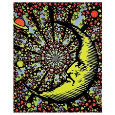 Moon and Stars Black Light Reactive Cloth Wall Hanging Fabric Poster Hanging Fabric, Tapestry Wall Hanging, Wall Hangings, Sun Moon, Stars And Moon, Blacklight Tapestry, Renaissance, Art Nouveau, Pop Art