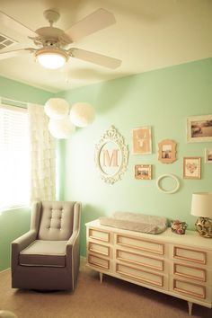 Mint/Grey/Coral Nursery.