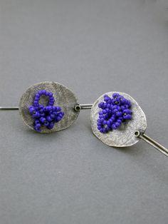 cobalt blue indigo earrings oxidized sterling organic circle paddle dangle earrings sewn glass beads - Jaime Jo Fisher - 100€ on etsy