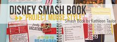 Love the idea for this project.  Check out the blog and learn more about the Disney Smash Book - Project Mouse Style.  I was already planning to do this with the kiddoes this summer and now I have a reference!
