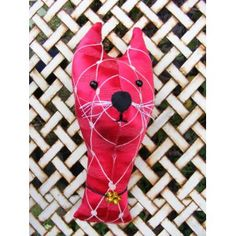 Fake  taxidermy , shabby chic. Cat lady starter kit.  Cat  trophy head. Fabric animal head.Vintage red fabric.