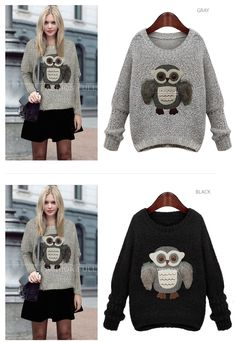 Women Sweater 2015 Fashion Owl Stereoscopic Thick Long Sleeve O Neck Women Sweaters And Pullovers Black/Gray-in Pullovers from Women's Clothing & Accessories on Aliexpress.com | Alibaba Group